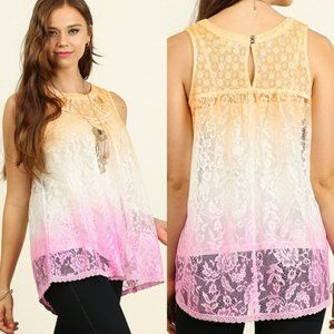 NEW Umgee lace ombre orange pink tank top Small